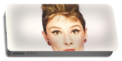 Portable Battery Charger featuring the photograph Audrey Hepburn Breakfast At Tiffanys  by R Muirhead Art