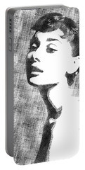 Audrey Hepburn Bw Portrait Portable Battery Charger by Mihaela Pater
