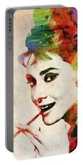 Audrey Hepburn Colorful Portrait Portable Battery Charger