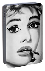 Portable Battery Charger featuring the photograph Audrey Hepburn Mural  by Yurix Sardinelly