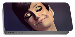 Audrey Hepburn Painting Portable Battery Charger by Paul Meijering