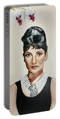 Audrey Hepburn Portable Battery Charger by Shelley Overton