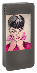 Audrey Hepburn Portable Battery Charger by Valerie Ornstein