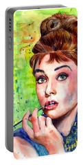 Audrey Hepburn Watercolor Portable Battery Charger