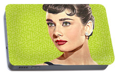 Audrey Hepburn_popart06-3 Portable Battery Charger by Bobbi Freelance