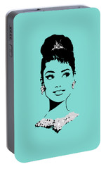Audrey In Tiffany Blue Portable Battery Charger by Rene Flores