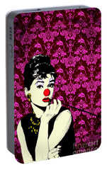 Portable Battery Charger featuring the drawing Audrey On Purple by Jason Tricktop Matthews