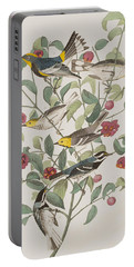 Audubons Warbler Hermit Warbler Black-throated Gray Warbler Portable Battery Charger by John James Audubon