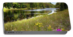 Portable Battery Charger featuring the photograph August Flowers On The Pond by David Patterson
