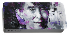 Portable Battery Charger featuring the painting Aung San Suu Kyi by Richard Day