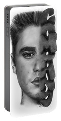 Justin Bieber Drawing By Sofia Furniel Portable Battery Charger