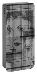 Aunt Edie Black And White Print Portable Battery Charger
