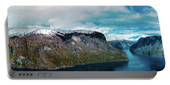 Aurlandsfjorden Panorama Revisited Portable Battery Charger