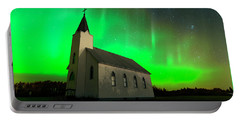 Aurora And Country Church Portable Battery Charger by Dan Jurak