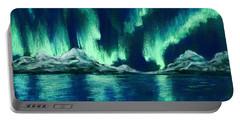 Portable Battery Charger featuring the pastel Aurora Borealis by Anastasiya Malakhova