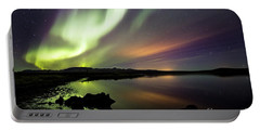 Aurora Borealis Over Thinvellir Portable Battery Charger