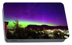 Portable Battery Charger featuring the photograph Aurora Over Mt Wellington, Hobart by Odille Esmonde-Morgan