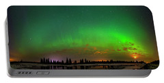 Portable Battery Charger featuring the photograph Aurora Over Pond Panorama by Dan Jurak