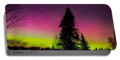 Aurora With Spruce Tree Portable Battery Charger by Tim Kirchoff