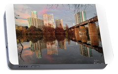 Austin Hike And Bike Trail - Train Trestle 1 Sunset Left Greeting Card Poster - Over Lady Bird Lake Portable Battery Charger by Felipe Adan Lerma