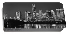 Austin Skyline At Night Black And White Bw Panorama Texas Portable Battery Charger