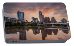 Austin Skyline Sunrise Reflection Portable Battery Charger by Todd Aaron