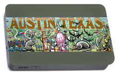 Portable Battery Charger featuring the digital art Austin Texas Fun Art by Kevin Middleton