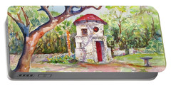 Portable Battery Charger featuring the painting Austin Texas Mayfield Park by Carlin Blahnik CarlinArtWatercolor