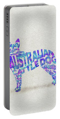 Portable Battery Charger featuring the painting Australian Cattle Dog Watercolor Painting / Typographic Art by Inspirowl Design