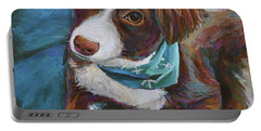 Portable Battery Charger featuring the painting Australian Shepherd Puppy by Robert Phelps