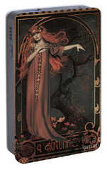Portable Battery Charger featuring the digital art Autumn Art Nouveau  by Shanina Conway