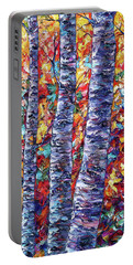 Autumn  Aspen Trees Contemporary Painting  Portable Battery Charger