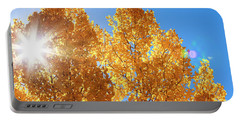 Autumn Aspens With Sun Star Portable Battery Charger