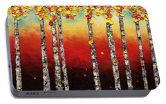 Portable Battery Charger featuring the painting Autumn Birch Trees by Carmen Guedez