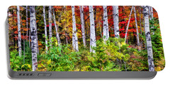 Portable Battery Charger featuring the painting Autumn Birches by Christopher Arndt