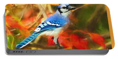 Autumn Blue Jay Portable Battery Charger by Tina LeCour