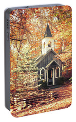 Portable Battery Charger featuring the photograph Autumn Chapel by Joel Witmeyer
