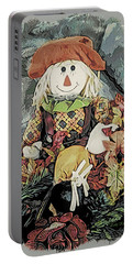 Portable Battery Charger featuring the digital art Autumn Country Scarecrow by Kathy Kelly