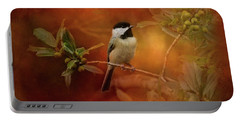 Autumn Day Chickadee Bird Art Portable Battery Charger