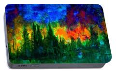 Portable Battery Charger featuring the painting Autumn Fires by Claire Bull