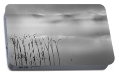 Portable Battery Charger featuring the photograph Autumn Fog Black And White Square by Bill Wakeley