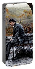 Portable Battery Charger featuring the painting Autumn Friends by Judy Kirouac