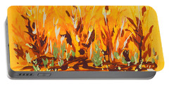 Portable Battery Charger featuring the painting Autumn Garden by Holly Carmichael