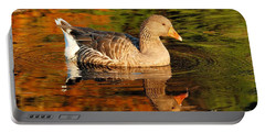 Portable Battery Charger featuring the photograph Autumn Goose Reflection by Debbie Stahre