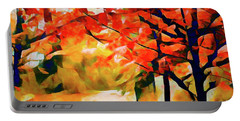 Glorious Foliage On The Rail Trail - Abstract Portable Battery Charger