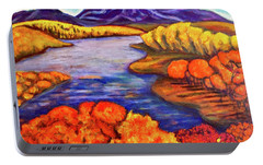 Portable Battery Charger featuring the painting Autumn Hues by Rae Chichilnitsky