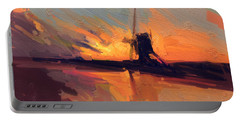 Portable Battery Charger featuring the painting Autumn Indian Summer Windmill Holland by Nop Briex