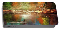 Autumn Lake Reflections Portable Battery Charger