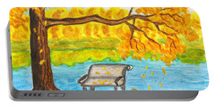 Autumn Landscape With Tree And Bench, Painting Portable Battery Charger