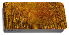 Autumn Lane In An Orange Forest Portable Battery Charger